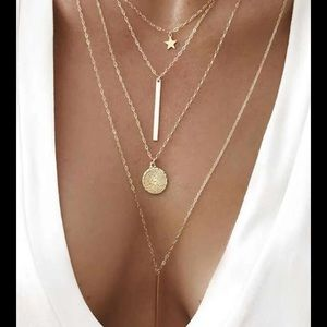 Gold Coin Bar & Star Pendant Layered Necklace